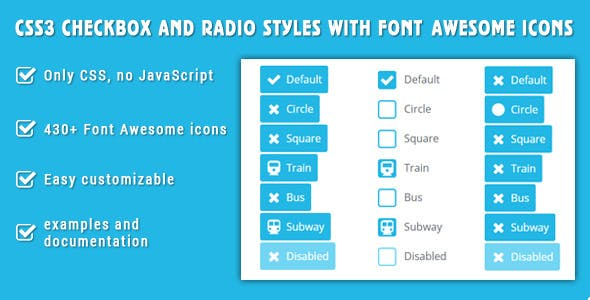 CSS3 checkbox and radio styles with Font Awesome