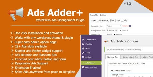 Ads Adder+ - WordPress Ad Management Plugin - CodeCanyon Item for Sale