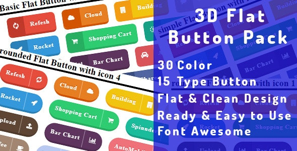 3D Flat Button Pack - CodeCanyon Item for Sale