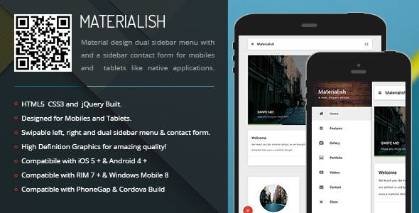Materialish | Sidebar Menu for Mobiles & Tablets