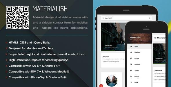 Materialish | Sidebar Menu for Mobiles & Tablets
