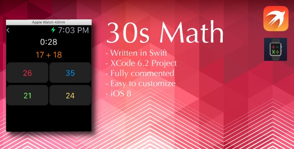 30s Math Apple Watch game in Swift - CodeCanyon Item for Sale