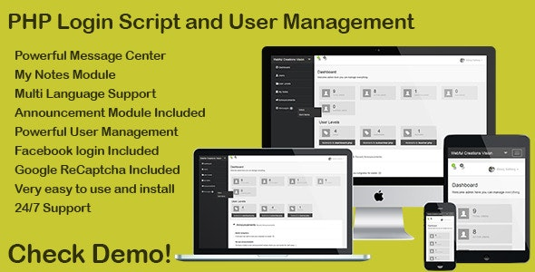 PHP Login & User Management with message center - CodeCanyon Item for Sale