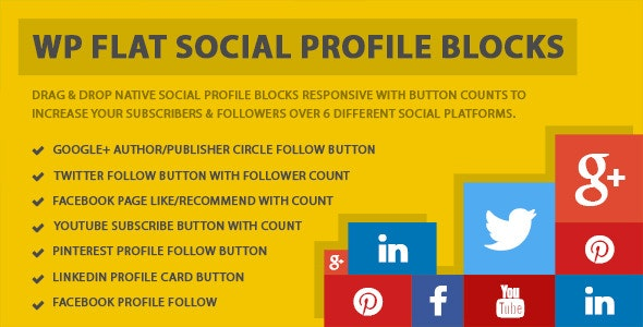 WP Flat Social Profile Blocks - CodeCanyon Item for Sale