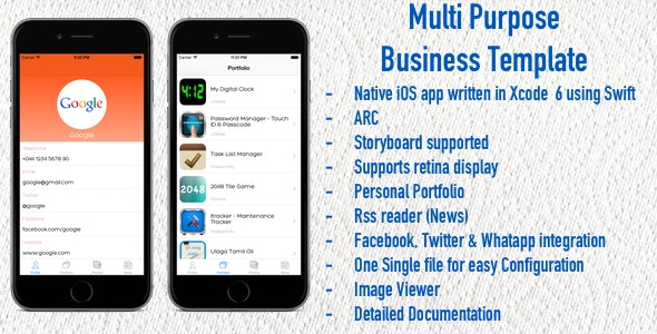Multi Purpose Business Template - Swift - CodeCanyon Item for Sale