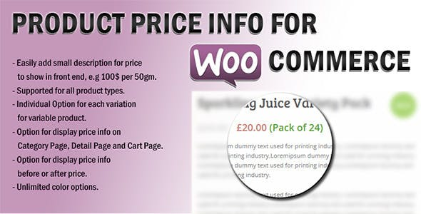 Product Price Info For WooCommerce