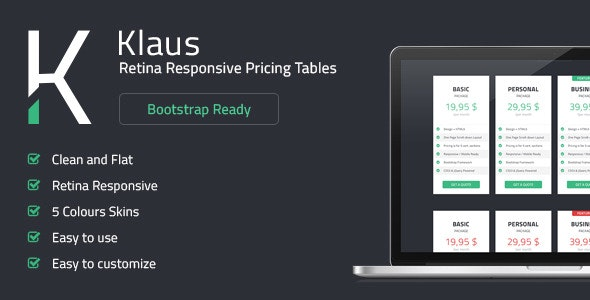 Klaus - Retina Responsive Pricing Tables - CodeCanyon Item for Sale