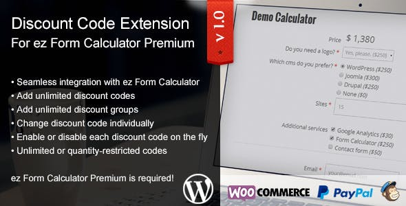 ez Form Calculator - Discount Codes Extension