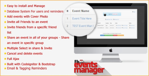 Facebook Events Manager application - CodeCanyon Item for Sale