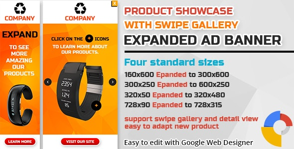 Product Showcase Swipe Gallery Expanded Ad Banner - CodeCanyon Item for Sale