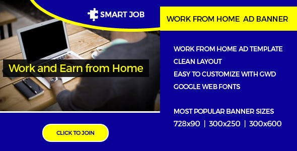 Work From Home | HTML5 Ad Banner
