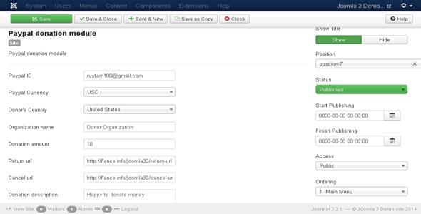 Joomla Paypal Donation Module