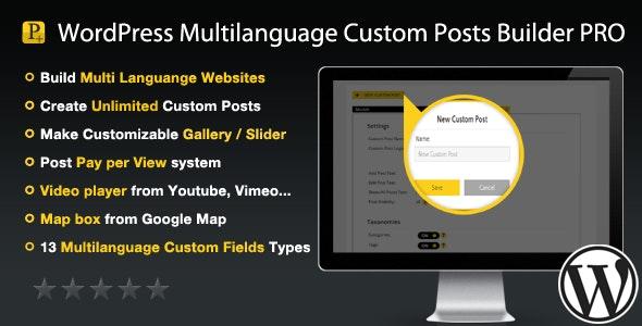 WordPress Multilanguage Custom Posts Builder PRO - CodeCanyon Item for Sale