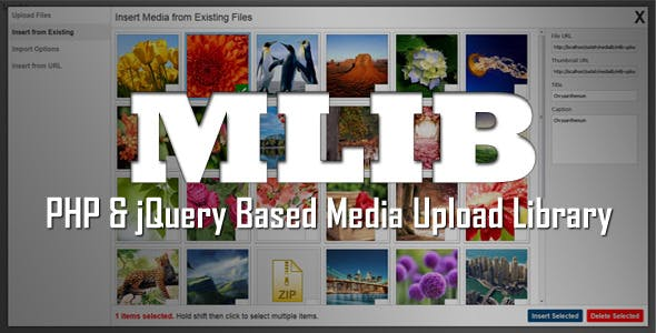 mLIB - PHP & jQuery based media upload library