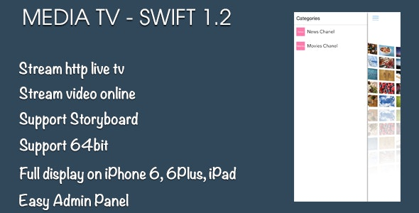 Media TV iOS Swift Application - CodeCanyon Item for Sale