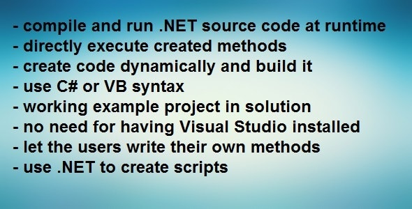 .NET Compiler - Compile code at runtime - CodeCanyon Item for Sale