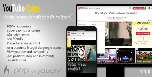 YouTube Coins - (Media Script + Points System)