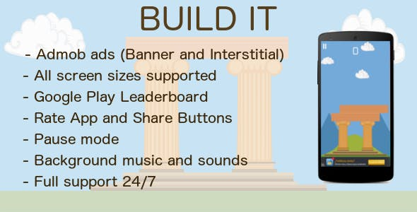 Build It with Admob + Leaderboard + Share