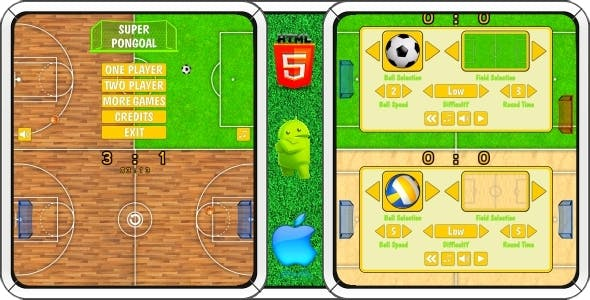 Super PonGoal - HTML5 Mobile Game (Construct 3 | Construct 2 | Capx)