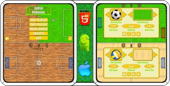Super PonGoal - HTML5 Mobile Game (Construct 3 | Construct 2 | Capx) - CodeCanyon Item for Sale