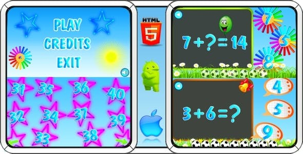 Math Game for Kids - HTML5 Mobile Game (Construct 3 | Construct 2 | Capx)