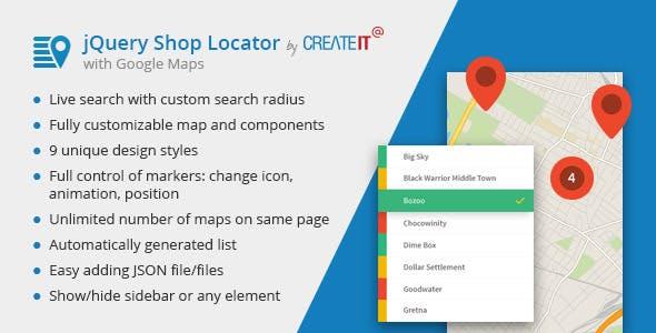 jQuery Shop Locator