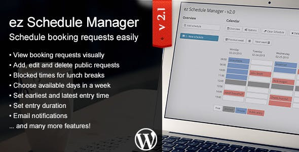 ez Schedule Manager - WordPress Plugin