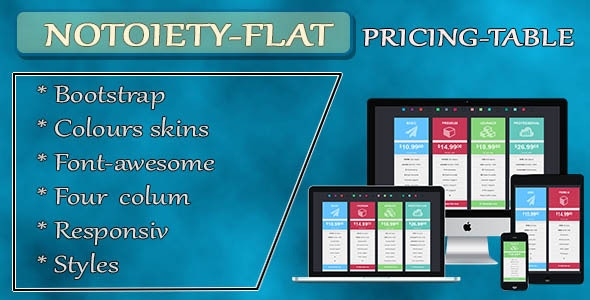 Notoiety Bootstrap Pricing Table - CodeCanyon Item for Sale
