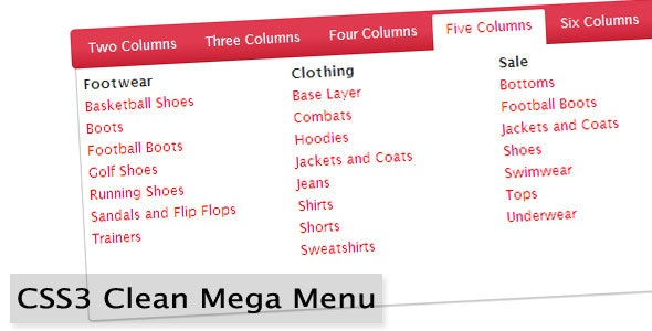 CSS3 Clean Mega Menu - CodeCanyon Item for Sale