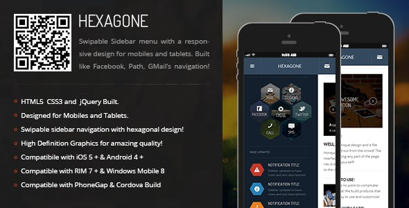 Hexagone | Sidebar Menu for Mobiles & Tablets