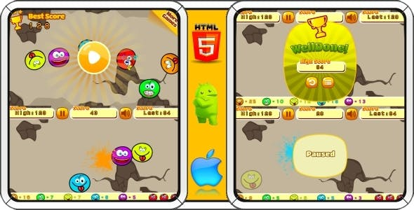 Smiles - HTML5 Mobile Game (Construct 3   Construct 2   Capx)