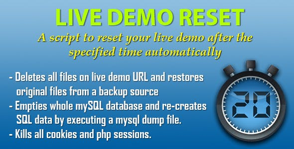 Live Demo Reset - script that resets a live demo