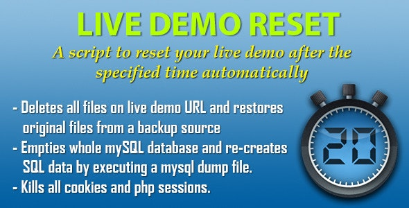 Live Demo Reset - script that resets a live demo - CodeCanyon Item for Sale