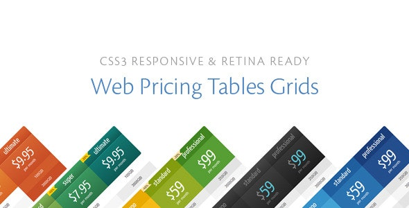 CSS3 Responsive Web Pricing Tables Grids - CodeCanyon Item for Sale