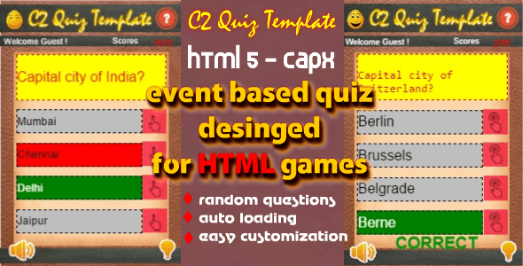 C2 Quiz Starter Template for HTML Games - CodeCanyon Item for Sale