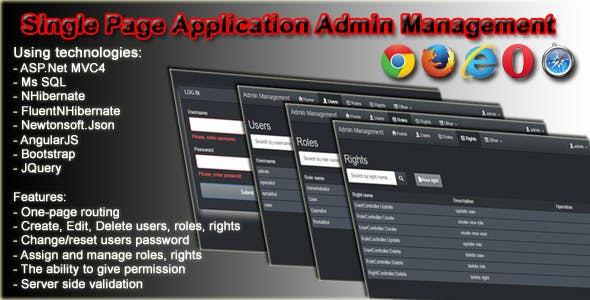 Single Page Application Admin Management
