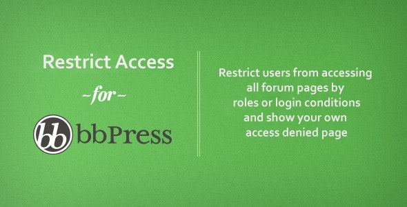 bbPress Access - Limit Forum Access - CodeCanyon Item for Sale