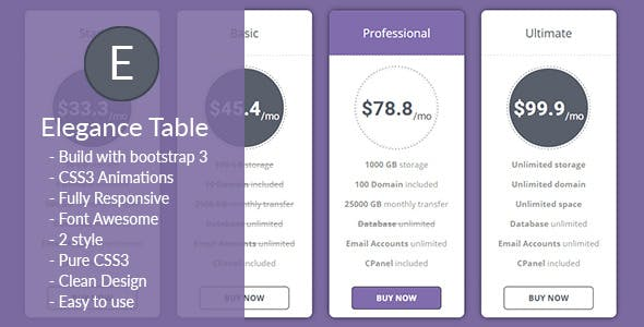 Elegance - Animated Responsive Pricing Table