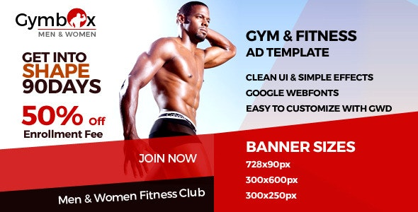 Fitness - GWD Ad Banners - CodeCanyon Item for Sale