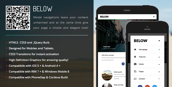 Below | Modal Menu for Mobiles & Tablets