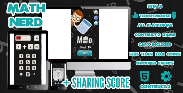 Math Nerd Game + Share Score - CodeCanyon Item for Sale