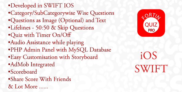 Fortin Quiz Pro IOS SWIFT + PHP Admin Panel - CodeCanyon Item for Sale