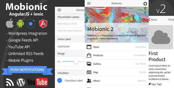 Mobionic - PhoneGap / Cordova Full Hybrid App - CodeCanyon Item for Sale