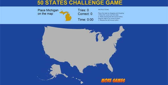 United States Map game - 50 States Challenge by dexterfly | CodeCanyon