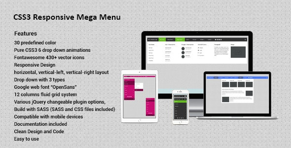 CSS3 Responsive Mega Drop Down Menu - CodeCanyon Item for Sale