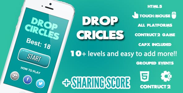 Drop Circles Game + Share Score