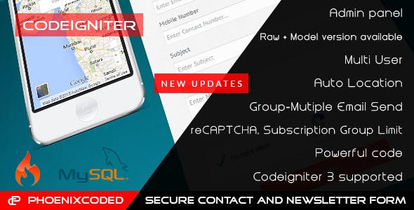 CodeIgniter Secure Contact and Newsletter Form