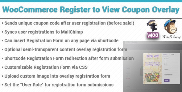 WooCommerce Coupon Registration Overlay - CodeCanyon Item for Sale