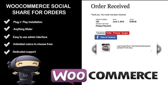 Woocommerce Social Share For Orders