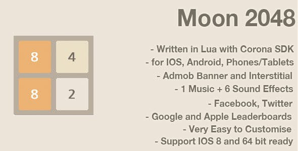 Moon 2048: Game Template for Corona SDK
